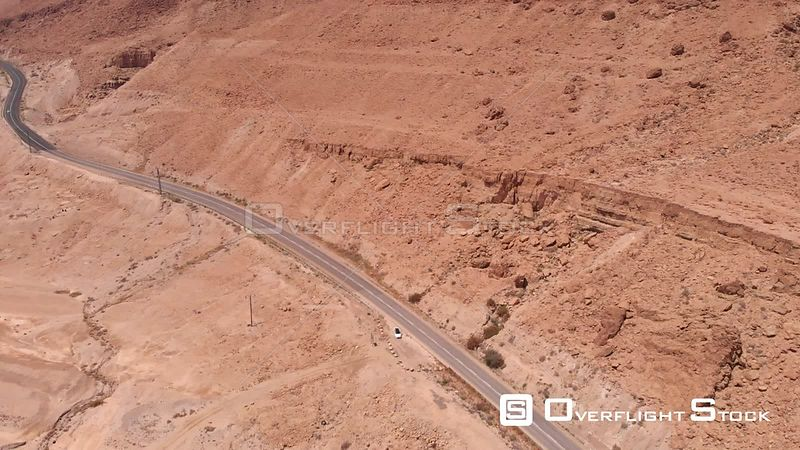 Desert and Road in the Dead Sea Aerial View