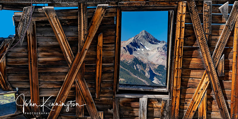 Wilson Peak Through Alta Ghost Town Window Panoramic, Gunnison National Forest, Colorado