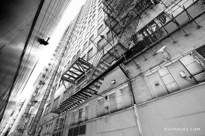 CHICAGO INDUSTRIAL COLLECTION | CHICAGO DOWNTOWN ALLEY FIRE ESCAPE CHICAGO ILLINOIS BLACK AND WHITE