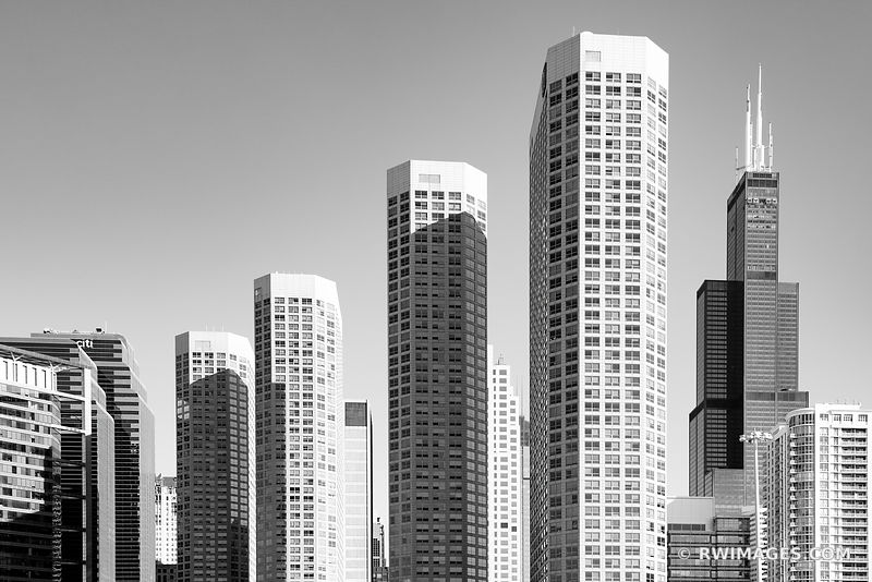 HIGH RISES AND WILLIS TOWER WEST LOOP CHICAGO ILLINOIS BLACK AND WHITE