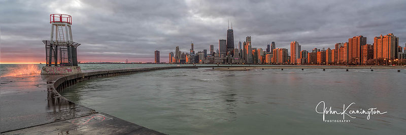 Sunrise from North Avenue Peir, Chicago, Illinois