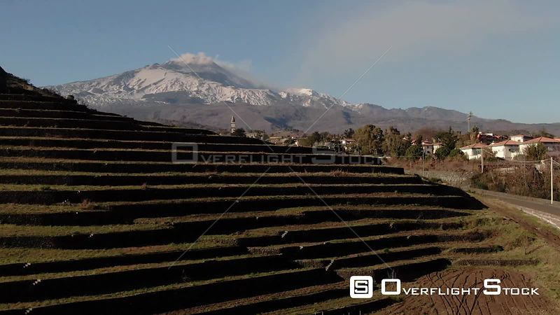 Aerial view of Mount Etna in Sicily Italy over new established vineyard