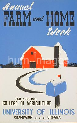 Poster for Annual Farm and Home Week at the University of Illinois in Champaign, IL January 1941
