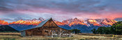 First Light at Moulton Barn Panoramic Panoramic, Grand Teton National Park, Wyoming