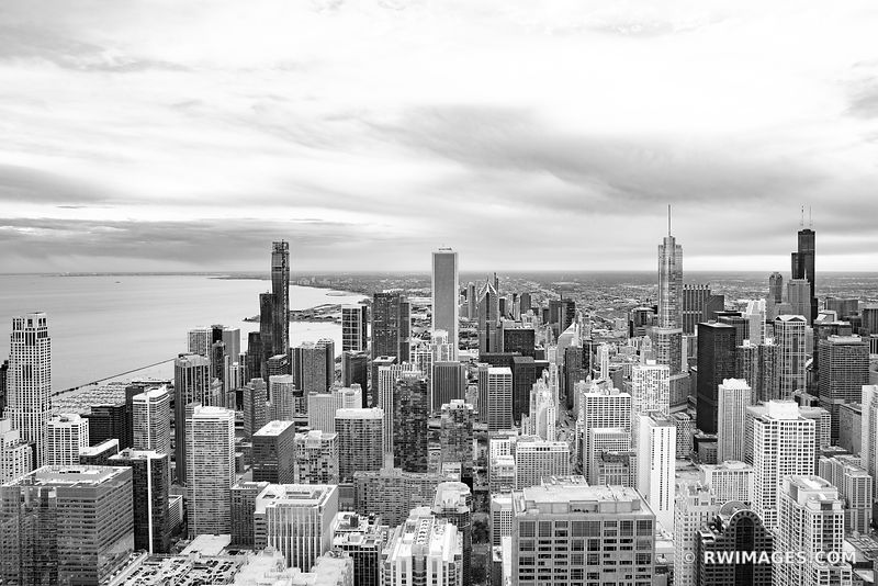 CHICAGO DOWNTOWN AERIAL VIEW CHICAGO ILLINOIS BLACK AND WHITE