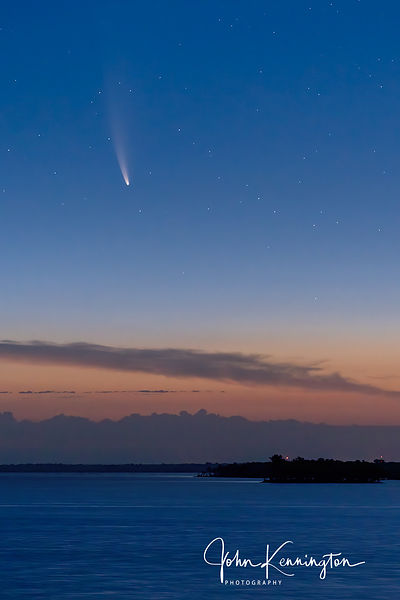 Comet NEOWISE over Oologah Lake, Oklahoma, July 11, 2020