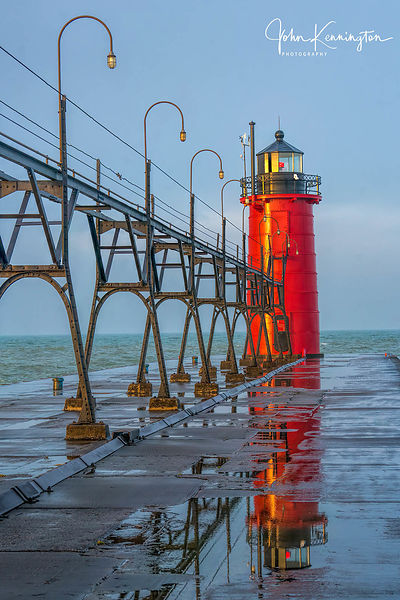 Sunrise at South Haven Light, South Haven, Michigan