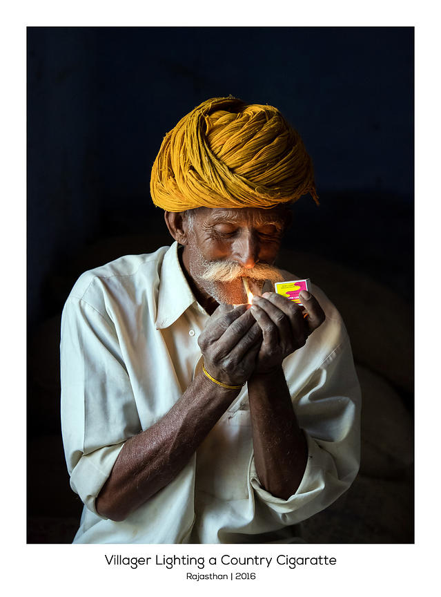 Villager Lighting a Country Cigarette