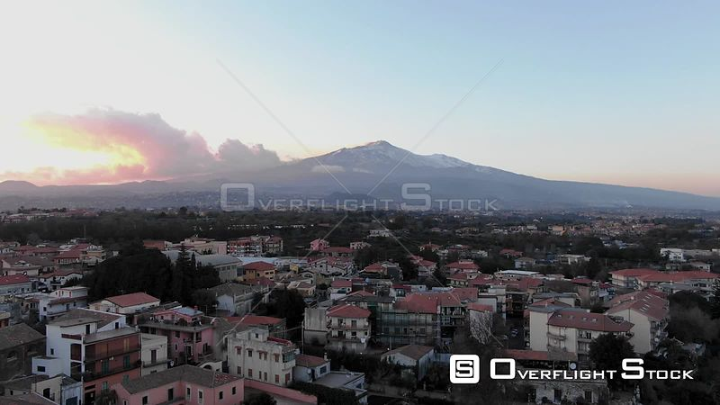 Mount Etna With Snow at Sunset With the Village of Valverde in the Foreground Sicily