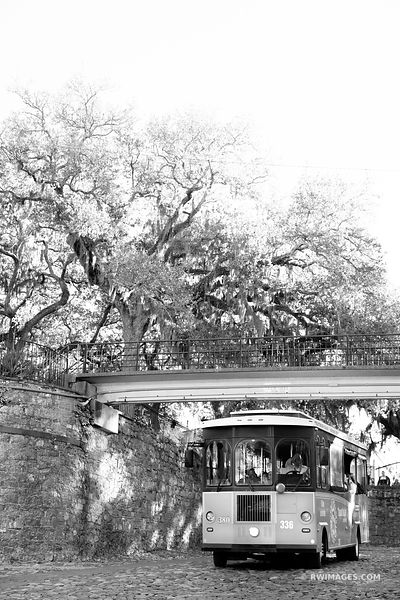 SAVANNAH TROLLEY VRIVERWALK AREA HISTORIC SAVANNAH GEORGIA BLACK AND WHITE VERTICAL