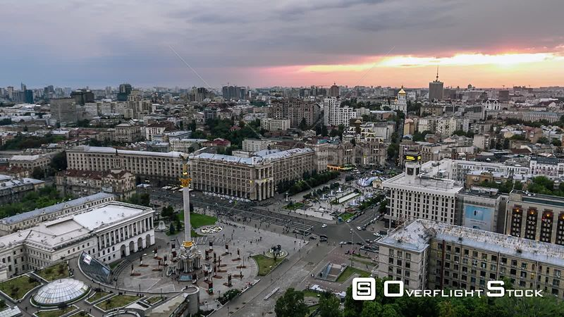 Drone Video of Kiev Cityscape Ukraine