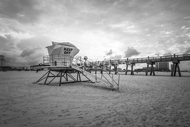 Pensacola Lifeguard Tower Five Sunrise Black and White Photo