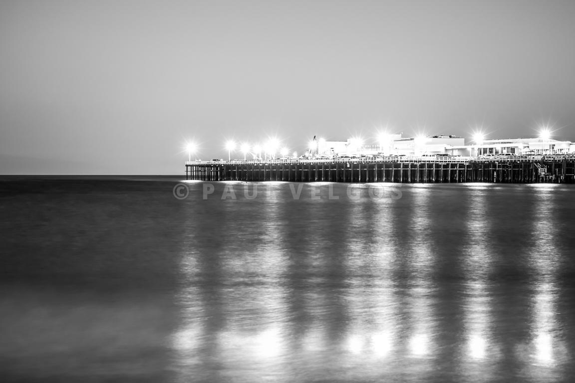 Santa Cruz Wharf Pier at Night Black and White Photo
