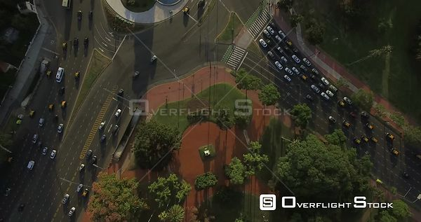 Busy Traffic Circle in Buenos Aires Argentina