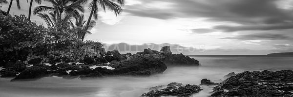 Maui Paako Cove Beach Black and White Panorama Photo