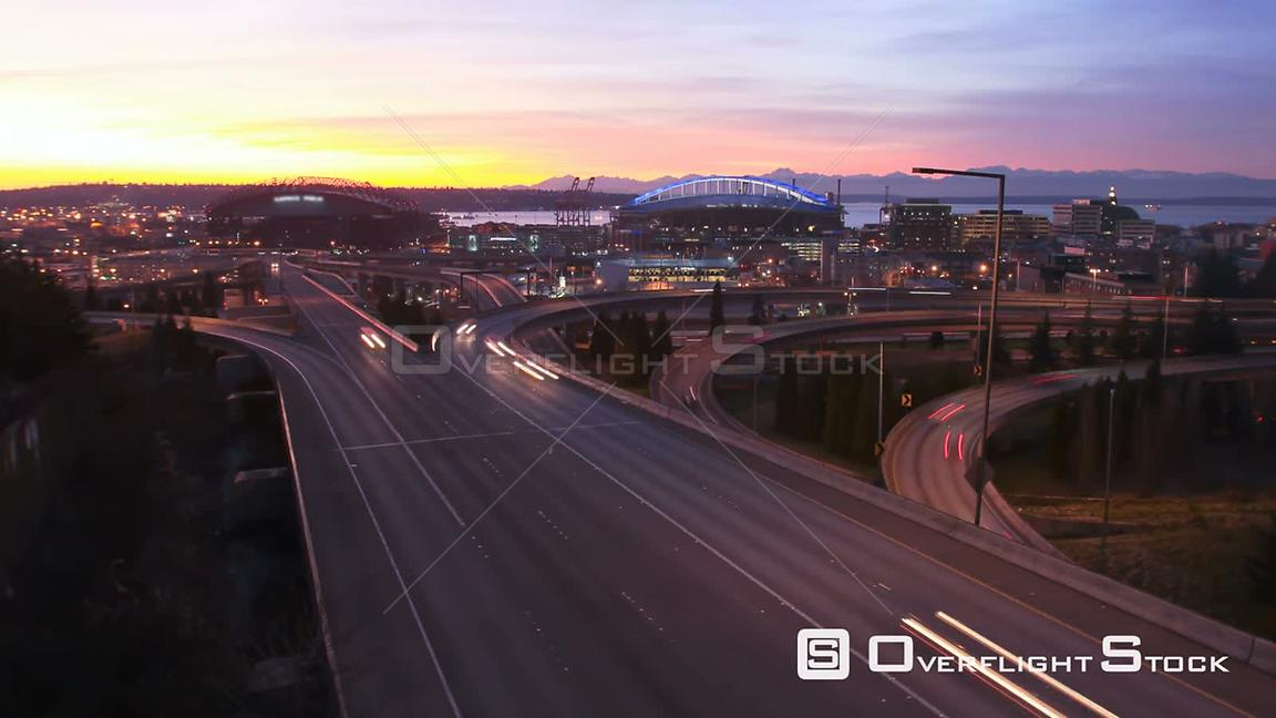 Seattle Washington State USA Time lapse clip of Seattle freeway traffic during sunset.