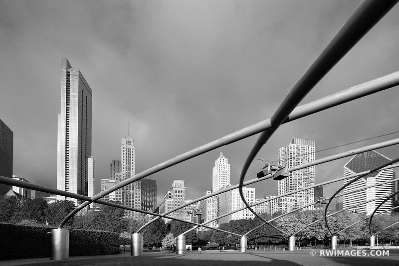 PRITZKER AUDITORIUM MILLENIUM PARK CHICAGO ILLINOIS BLACK AND WHITE
