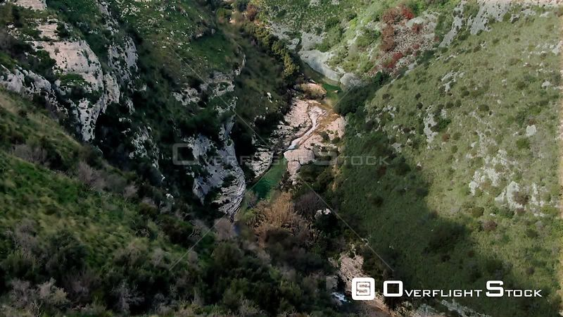 A Small River at the Bottom of a Canyon in Cavagrande Sicily