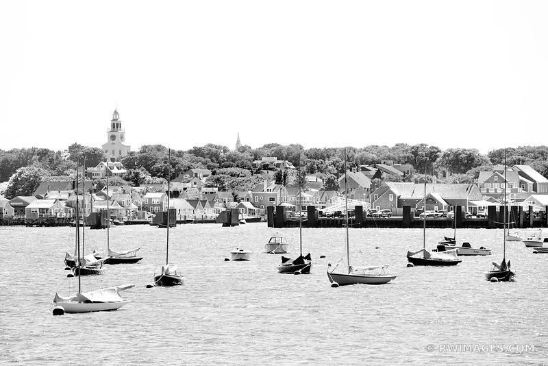 SAILBOATS NANTUCKET ISLAND HARBOR BLACK AND WHITE