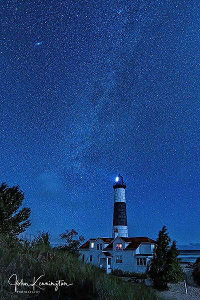 Milky Way and Andromeda Over Big Sable Point Light, Lake Michigan, Luddington, Michigan