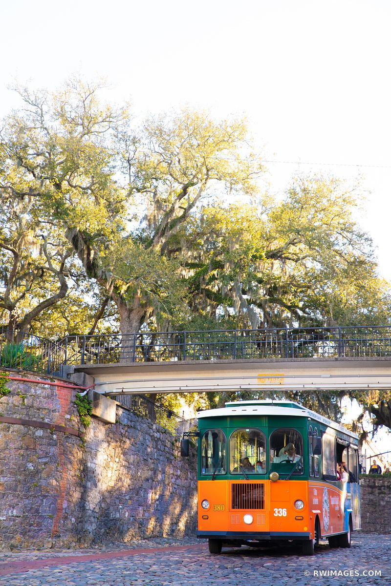 SAVANNAH TROLLEY RIVERWALK SAVANNAH GEORGIA COLOR VERTICAL
