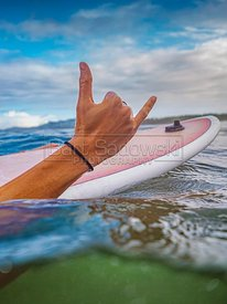 Surfer Girl on surfboard showing Hang Loose