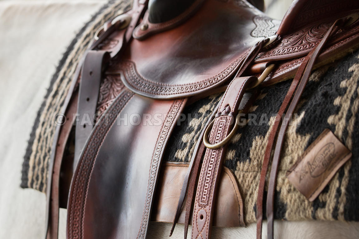 Fast Horse Photography Horses Stand In Cross Ties Waiting While Wearing Western Tack