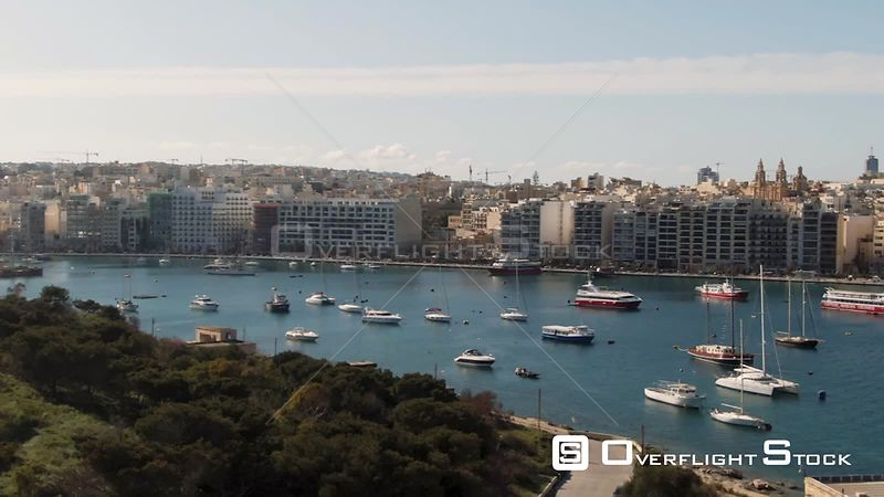 Aerial panning view of the bay of Sliema and Manoel island in Malta