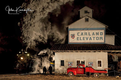 Pere Marquette #1225 Passing the Carland Elevator in Elsie, Michigan