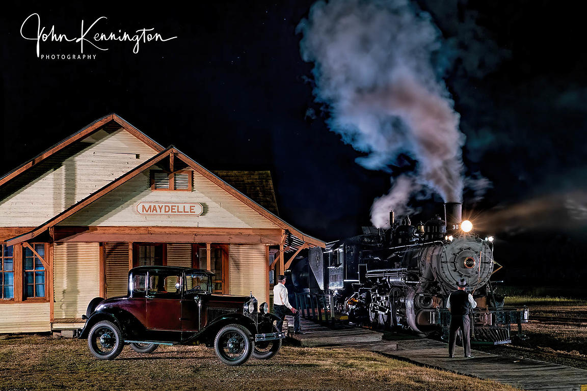 Hooping Up Train Orders at Night to the Tremont & Gulf #30, Maydelle, Texas