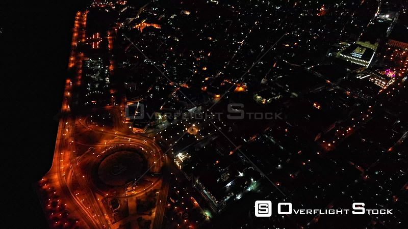 Cuba Havana Vertical to high birdseye view of Old Havana at night with city lights