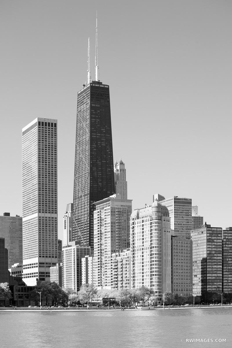 NORTH SIDE HANCOCK TOWER CHICAGO ILLINOIS BLACK AND WHITE VERTICAL