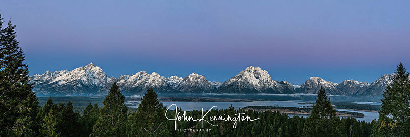 Signal Mountain Alpenglow Panoramic, Grand Teton National Park, Wyoming