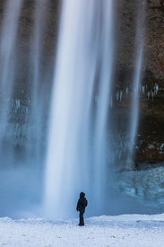 Selfie-taker at Seljalandsfoss Waterfall in Iceland