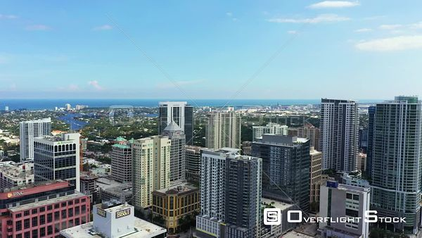 Tower flyover Downtown Fort Lauderdale FL aerial drone video