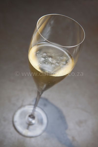A glass of delicious sparkling wine on concrete surface