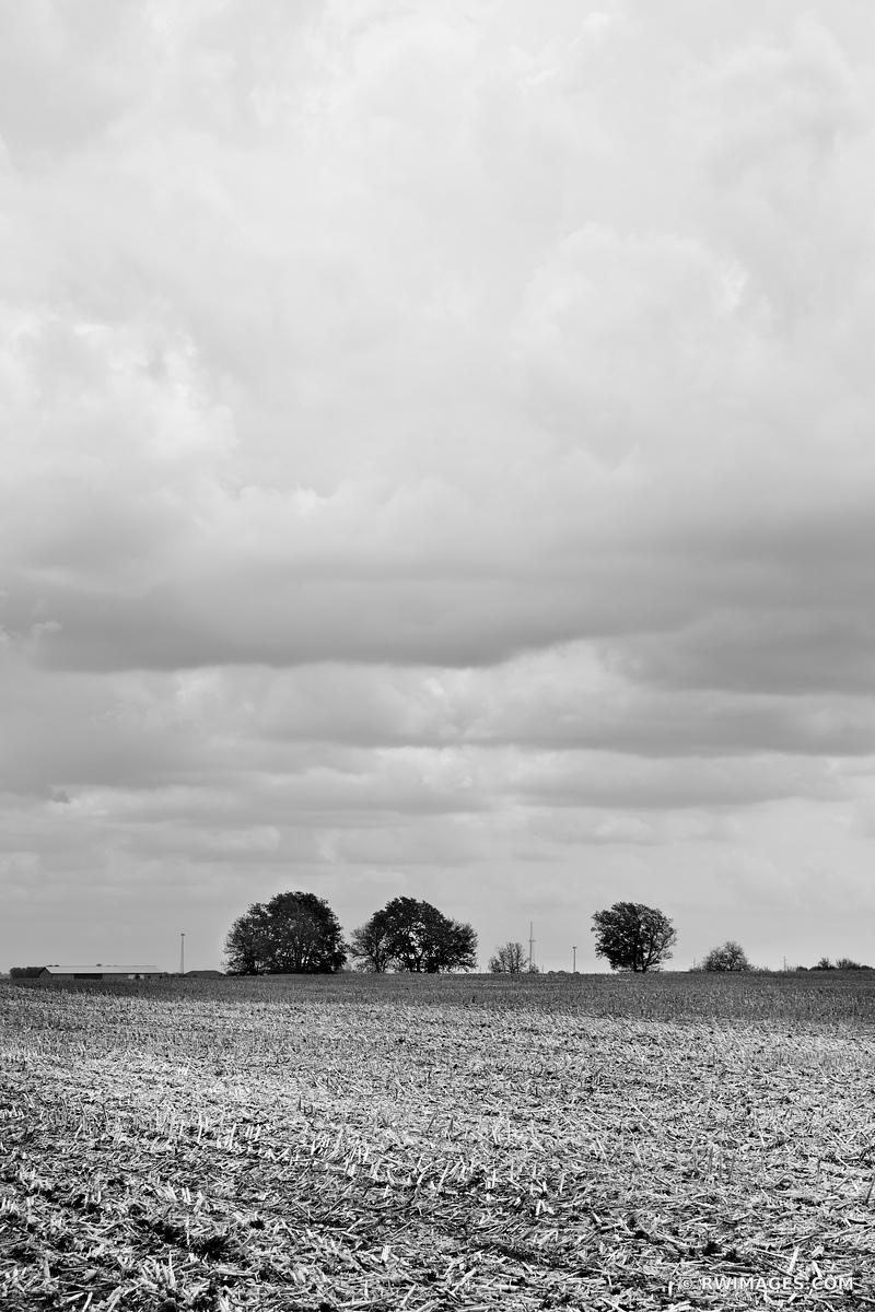 FARMFIELD IN SPRING CENTRAL ILLINOIS MIDWEST BLACK AND WHITE VERTICAL