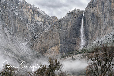 Yodemite Falls and Fog, Yosemite National Park, California