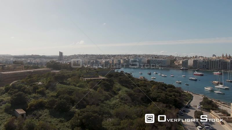 Aerial panning view of Sliema and Manoel island in Malta