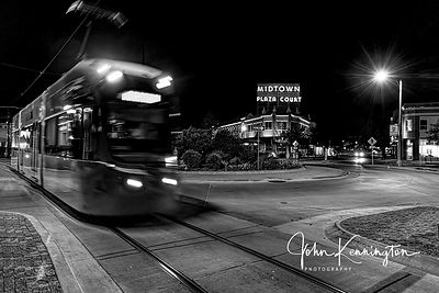 Midtown Plaza Court & Tram No 2 (BW), Route 66, Oklahoma City