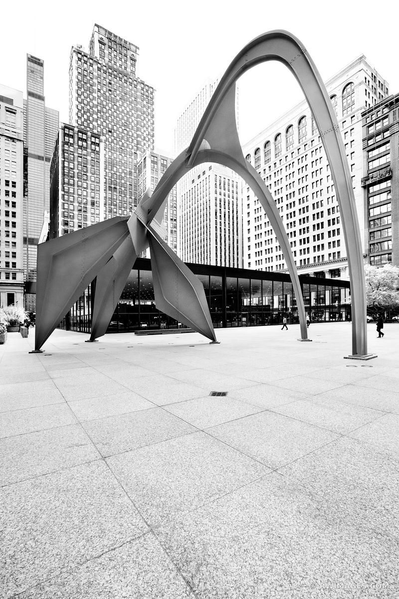 ALEXANDER CALDER FLAMINGO SCULPTURE FEDERAL PLAZA CHICAGO ILLINOIS BLACK AND WHITE VERTICAL