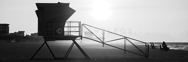 Pensacola Beach Lifeguard Tower Two Black and White Panorama Photo