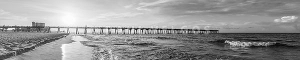 Pensacola Pier Ultra High Resolution Black and White Panorama Photo