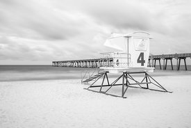 Pensacola Beach Lifeguard Tower 4 Black and White Photo