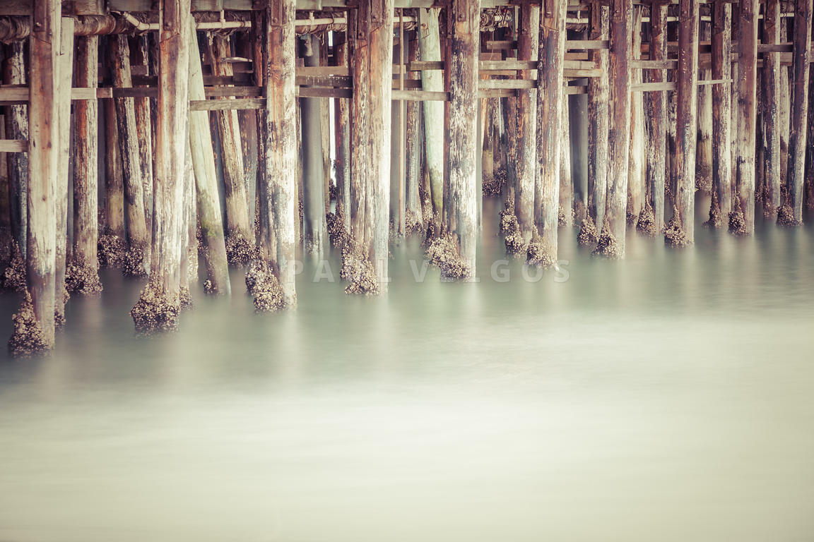 Santa Cruz Wharf Pier Pilings Retro Photo