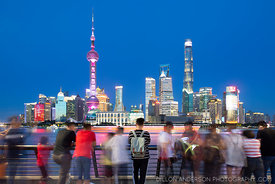 Watching the lights of Shanghai from The Bund.