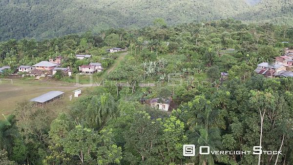 Drone Video Village in Jungle Setting Ecuador