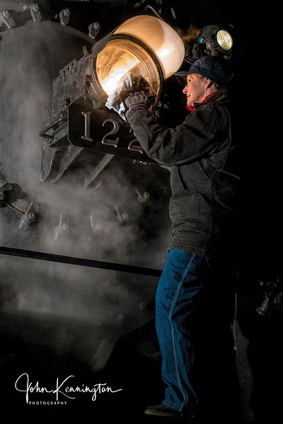 Cleaning the Light on the Pere Marquette #1225, Owosso, Michigan