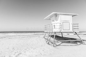 Huntington Beach Lifeguard Tower 9 Black and White Photo
