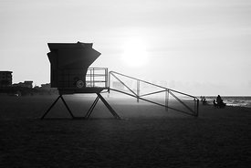 Pensacola Beach Lifeguard Tower Two Sunrise Black and White Photo